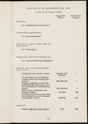 Breda - Indexen op de notulen van de gemeenteraad 1959-01-01