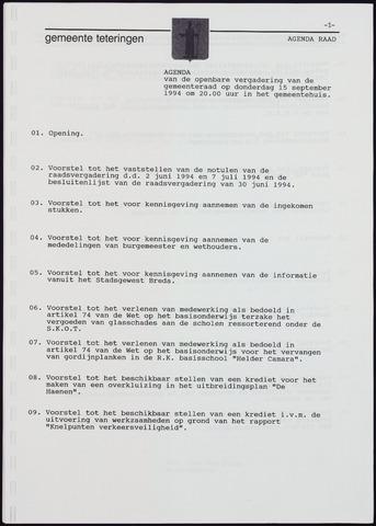 Teteringen - Notulen en bijlagen van de gemeenteraad 1994-09-15