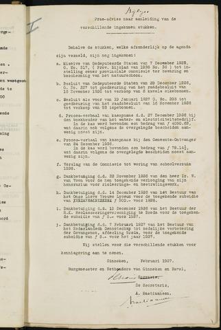 Ginneken en Bavel - Bijlagen bij de notulen van de gemeenteraad 1927-01-01
