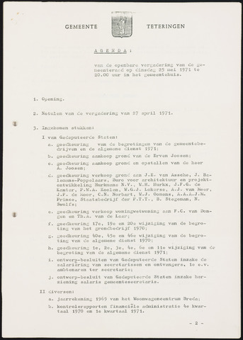 Teteringen - Notulen en bijlagen van de gemeenteraad 1971-05-25