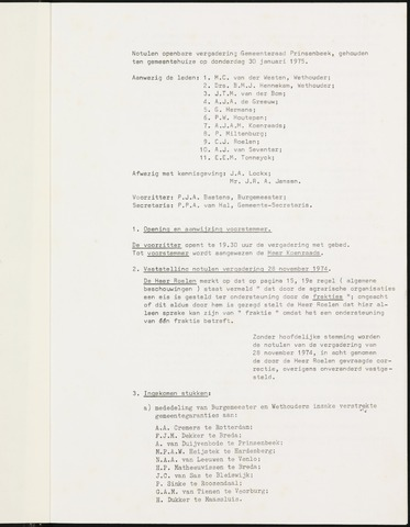 Prinsenbeek - Notulen van de gemeenteraad 1975