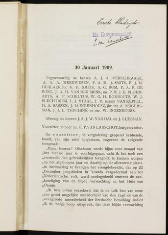 Breda - Notulen van de gemeenteraad 1909