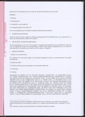 Breda - Notulen van de gemeenteraad 2005-06-02