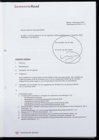 Breda - Bijlagen bij de notulen van de gemeenteraad 2009-12-17