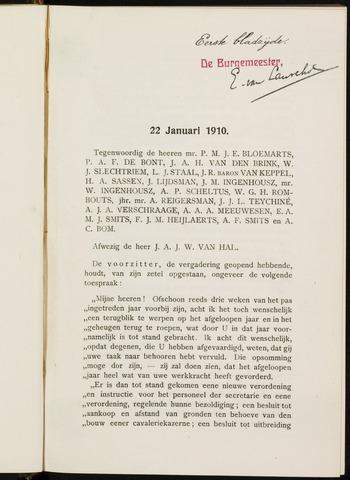 Breda - Notulen van de gemeenteraad 1910-01-01