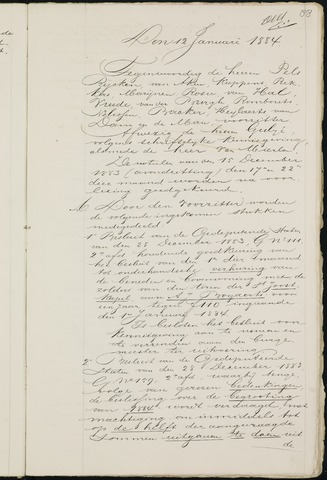 Breda - Notulen van de gemeenteraad 1884-01-01