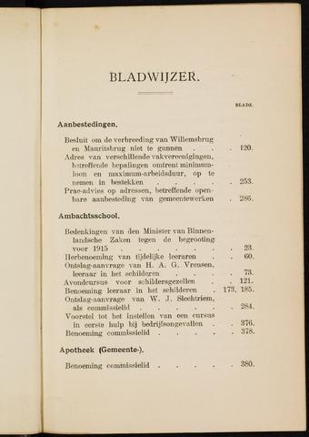 Breda - Indexen op de notulen van de gemeenteraad 1915-01-01