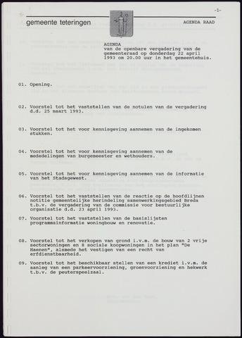 Teteringen - Notulen en bijlagen van de gemeenteraad 1993-04-22