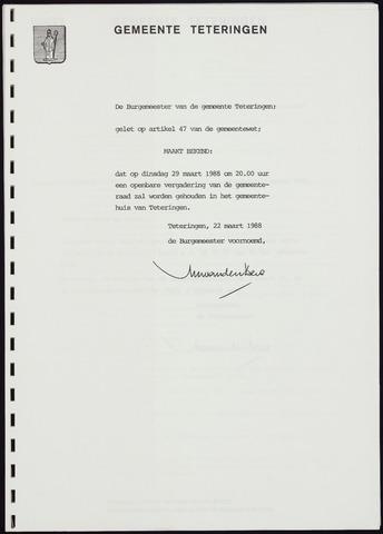 Teteringen - Notulen en bijlagen van de gemeenteraad 1988-03-29
