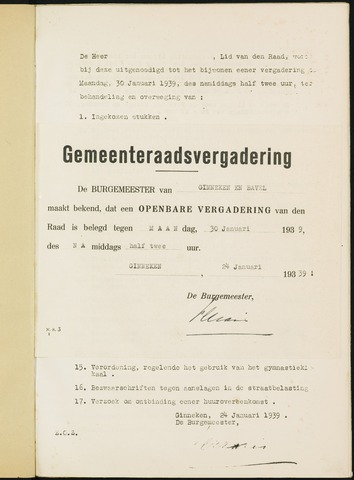 Ginneken en Bavel - Bijlagen bij de notulen van de gemeenteraad 1939