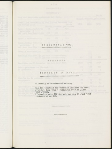 Ginneken en Bavel - Verslagen van de toestand van de gemeente 1896