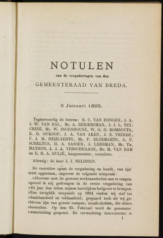 Breda - Notulen van de gemeenteraad 1895