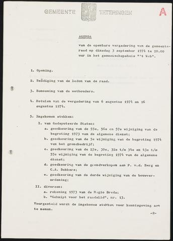 Teteringen - Notulen en bijlagen van de gemeenteraad 1974-09-03