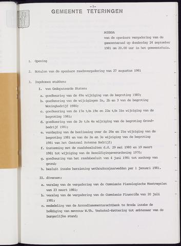 Teteringen - Notulen en bijlagen van de gemeenteraad 1981-09-24