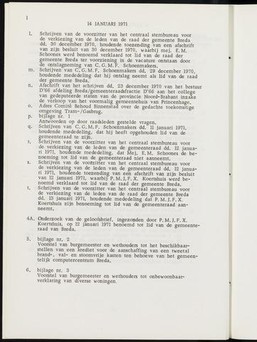 Breda - Notulen van de gemeenteraad 1971