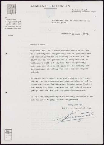 Teteringen - Notulen en bijlagen van de gemeenteraad 1971-03-30