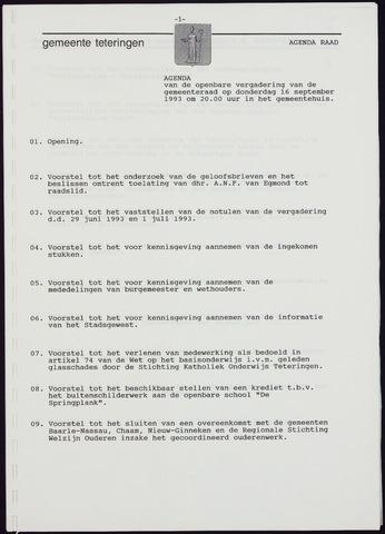 Teteringen - Notulen en bijlagen van de gemeenteraad 1993-09-16