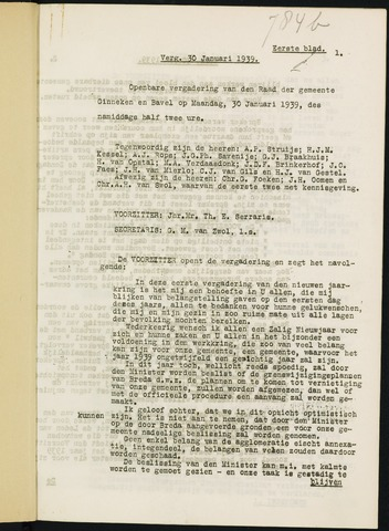 Ginneken en Bavel - Notulen van de gemeenteraad 1939-01-01