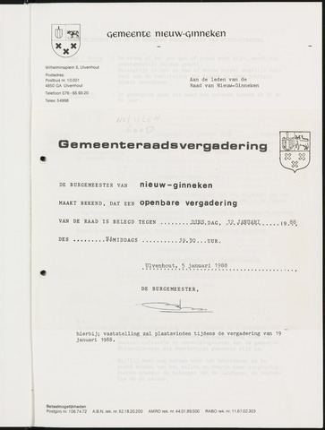 Nieuw-Ginneken - Notulen en bijlagen van de gemeenteraad 1988