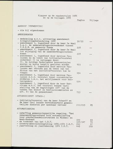 Breda - Indexen op de notulen van de gemeenteraad 1986