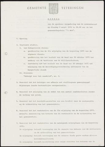 Teteringen - Notulen en bijlagen van de gemeenteraad 1976-03-09