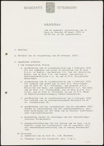 Teteringen - Notulen en bijlagen van de gemeenteraad 1972-03-28