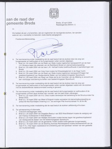 Breda - Bijlagen bij de notulen van de gemeenteraad 2004-04-20