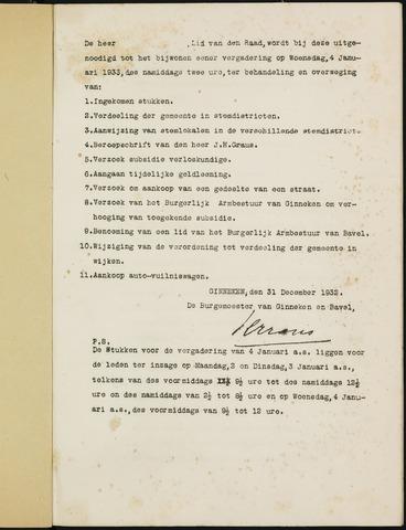Ginneken en Bavel - Bijlagen bij de notulen van de gemeenteraad 1933-01-01
