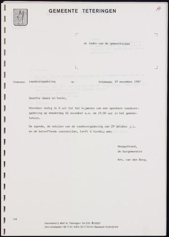 Teteringen - Notulen en bijlagen van de gemeenteraad 1987-11-25