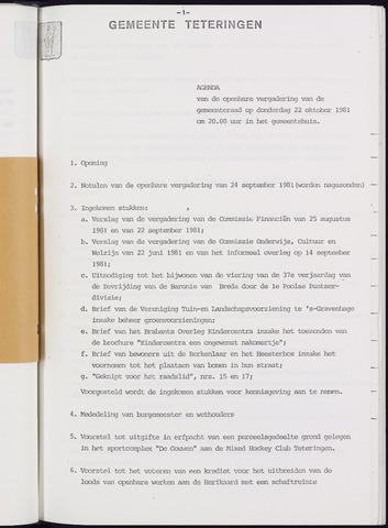 Teteringen - Notulen en bijlagen van de gemeenteraad 1981-10-22