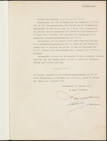Prinsenbeek - Bijlagen bij de notulen van de gemeenteraad 1953