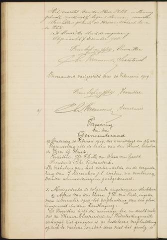 Teteringen - Notulen en bijlagen van de gemeenteraad 1909