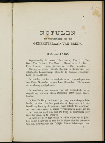 Breda - Notulen van de gemeenteraad 1890-01-01