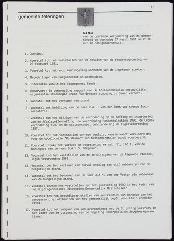Teteringen - Notulen en bijlagen van de gemeenteraad 1991-03-27