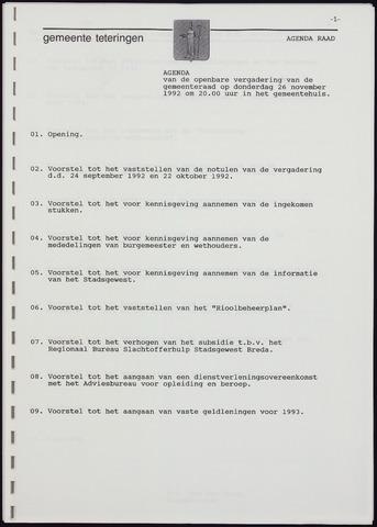 Teteringen - Notulen en bijlagen van de gemeenteraad 1992-11-26