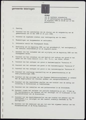 Teteringen - Notulen en bijlagen van de gemeenteraad 1990-08-30