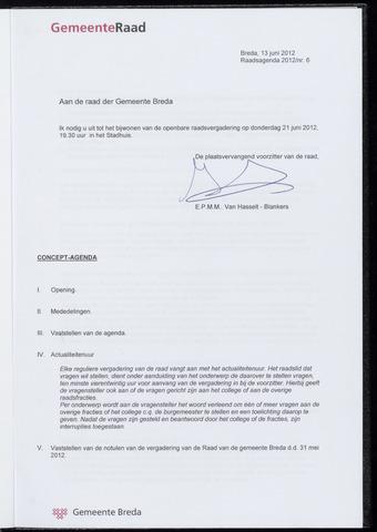 Breda - Bijlagen bij de notulen van de gemeenteraad 2012-06-21