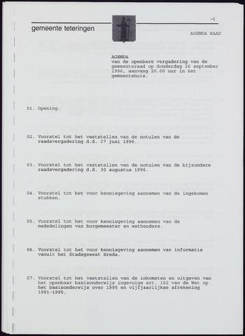Teteringen - Notulen en bijlagen van de gemeenteraad 1996-09-26