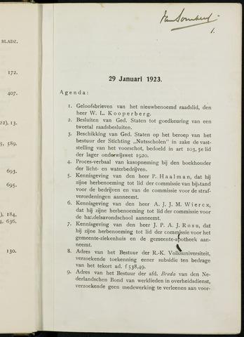Breda - Notulen van de gemeenteraad 1923-01-01