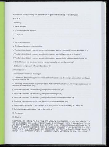 Breda - Notulen van de gemeenteraad 2007-10-18