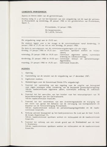 Prinsenbeek - Notulen van de gemeenteraad 1988