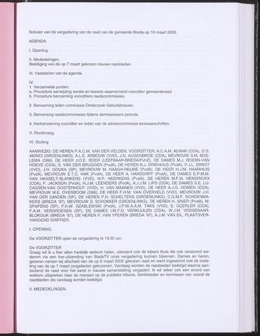 Breda - Notulen van de gemeenteraad 2006-03-16