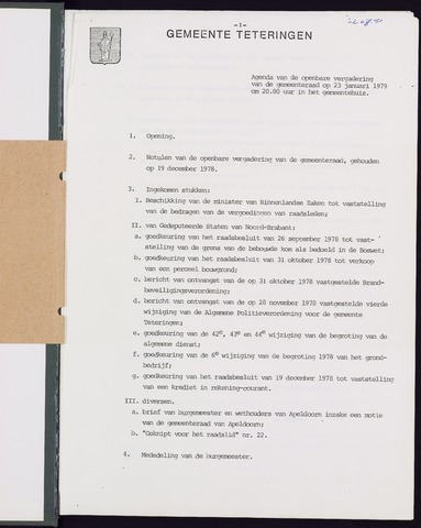 Teteringen - Notulen en bijlagen van de gemeenteraad 1979