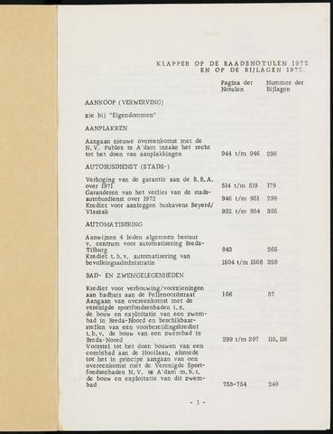 Breda - Indexen op de notulen van de gemeenteraad 1972-01-01