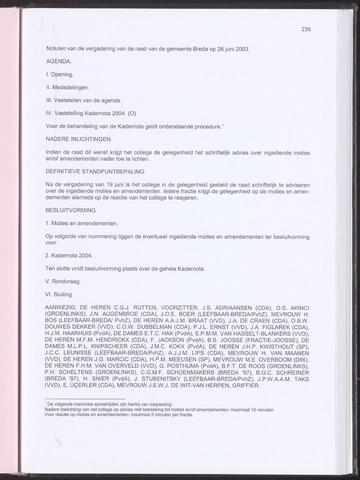 Breda - Notulen van de gemeenteraad 2003-06-26