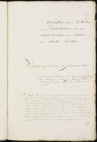 Breda - Notulen van de gemeenteraad 1822