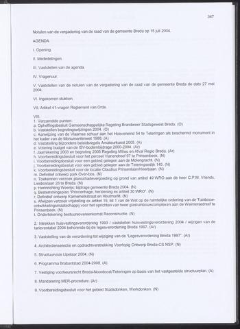 Breda - Notulen van de gemeenteraad 2004-07-15