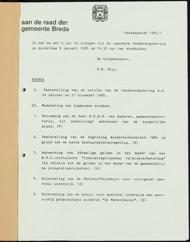 Breda - Bijlagen bij de notulen van de gemeenteraad 1986