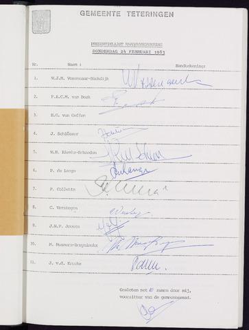 Teteringen - Notulen en bijlagen van de gemeenteraad 1983-02-24