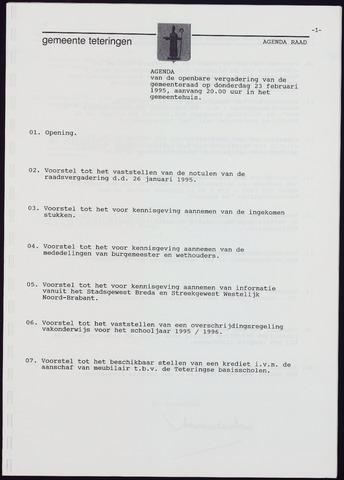 Teteringen - Notulen en bijlagen van de gemeenteraad 1995-02-23